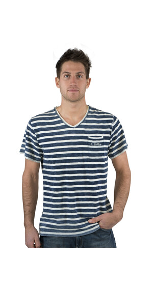 Chillaz V-Neck Crew T-Shirt Men indigo blue stripes